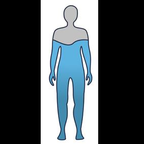 Zarys człowieka wypełnionego wodą do ramion. Ramiona i głowa w kolorze szarym.