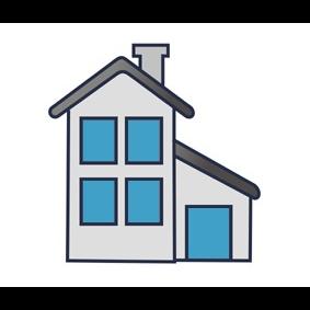 Domek z niebieskimi oknami.
