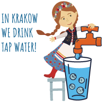 Logotype of the campaign in Krakow, we drink tap water.
