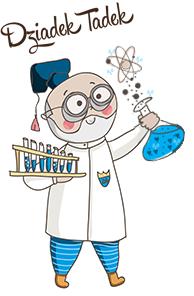 Dziadek Tadek. Rysunkowa postać dziadka naukowca w białym fartuchu i okularach. W ręce trzyma fiolki z niebieskim płynem.