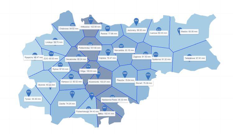 Mapa Krakowa z zaznaczonymi rejonami monitoringu opadów deszczu