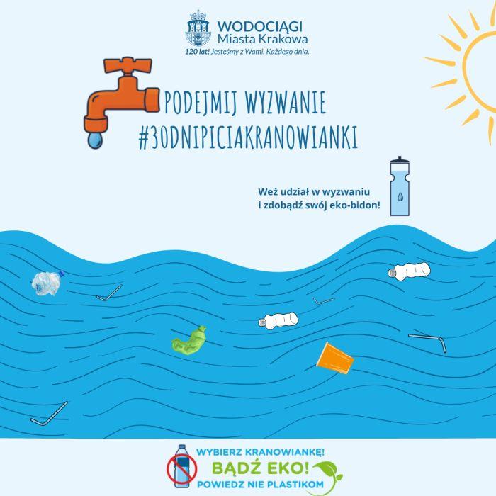 Plakat podejmij wyzwanie #30dnipiciakranowianki. Alternatywa tekstowa do grafiki znajduje się poniżej.