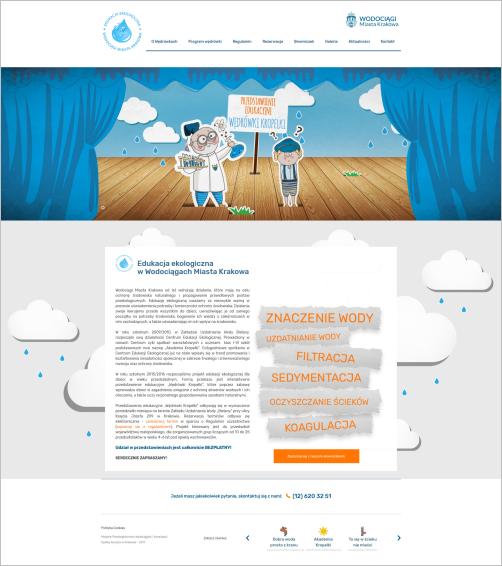 Screen strony głównej przedstawienia edukacyjnego Wędrówki Kropelki.