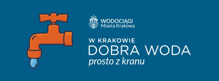 Granatowe tło, kran kampanii W Krakowie dobra woda prosto z kranu, logotyp kampanii, logotyp WMK S.A. Grafika pochodzi z fanpage'a.