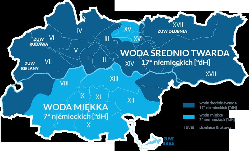 Mapa Krakowa z podziłałem na twardość wody w poszczególnych dzielnicach.