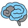 Ikona mózgu wypełnionego w części wodą