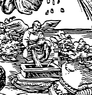 rycina czarno biała, symboliczna. Anioł nalewa wody do drewnianego pojemnika zwanego rząpem.