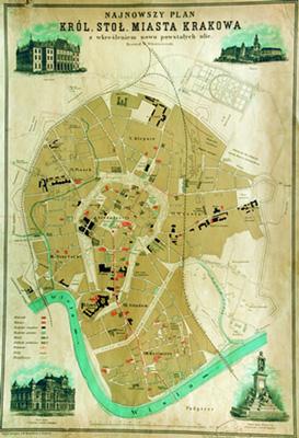 Dawna mapa z ulicami miasta Krakowa.