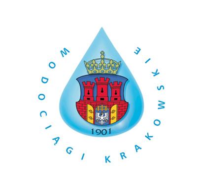 Logo Wodociągi Krakowskie. Kropla wody. W środku kropli herb i data 1901.