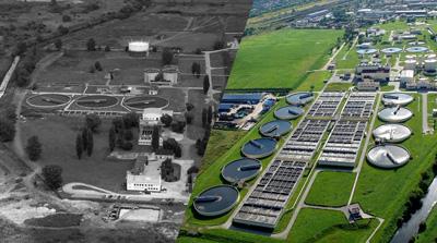 Dwa zdjęcia. Po lewej czarno białe z dawnym widokiem na Oczyszczalnię. Po prawej kolorowe nowoczesne z rozbudowanym zakładem.