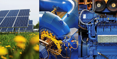 Dwa zdjęcia. Farma fotowoltaiczna oraz turbina na tranzycie wody.