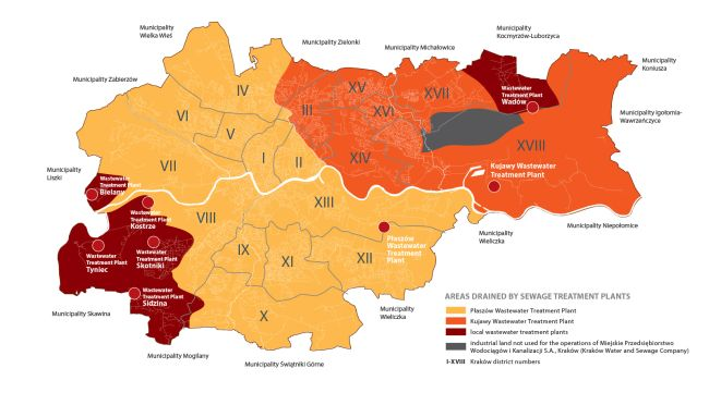 Map with the districts of Krakow. Shows which treatment plants serve a given district.