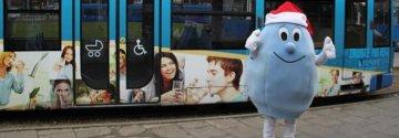 Kropelka mikołajkowa jeździ tramwajem!